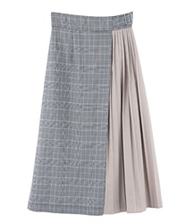 Color scheme pleats skirt(Grey-Free)