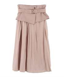 "Pleated Skirt with ""Removable Corset Design Belt""(Pale pink-Free)"