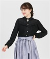 Frilled blouse style cut pullover(Black-Free)