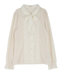 Blouse style pullover with ribbon(Ecru-Free)