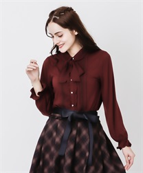 Blouse style pullover with ribbon(Wine-Free)