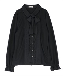 Blouse style pullover with ribbon(Black-Free)