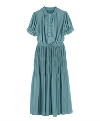 Majolica Pleated Long Dress(Green-Free)