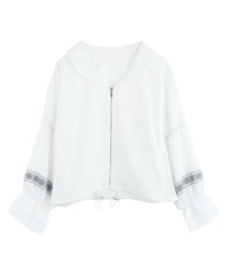 "Embroidered ""crepe de chine"" blouson(White-Free)"