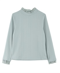 Lace high-necked pullover(Saxe blue-Free)