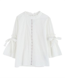 Blouse with soft sleeves(Ecru-Free)