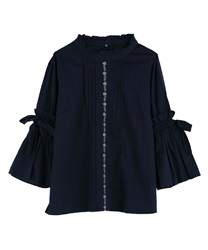 Blouse with soft sleeves(Navy-Free)