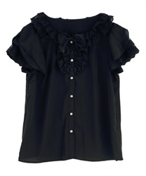 Frilly blouse(Black-Free)