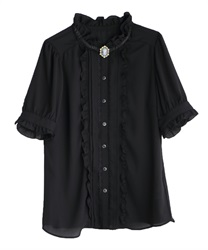 Antique blouse with camel(Black-M)