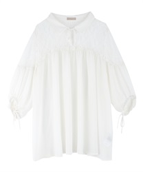 Lace Design Tunic Blouse(Ecru-Free)
