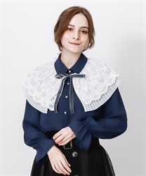 Cape style blouse with ribbon(Blue-Free)