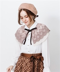 Cape style blouse with ribbon