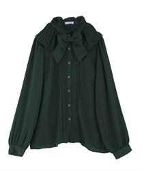 Pleated Collar Blouse(Green-Free)