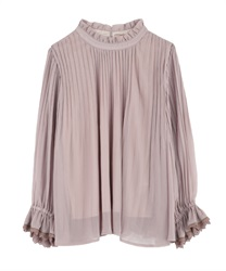 High-Necked Pleated Blouse(Pale pink-Free)