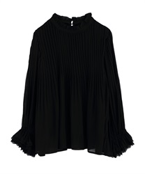 High-Necked Pleated Blouse(Black-Free)