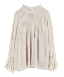High-Necked Pleated Blouse