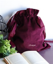 Embroidered logo tote bag(Wine-M)