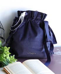 Embroidered logo tote bag(Navy-M)