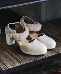 【Global Price】Stripe 2Way pumps(Beige-M)