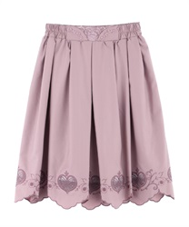 Skirt with heart-shaped openwork embroidery(Pale pink-Free)