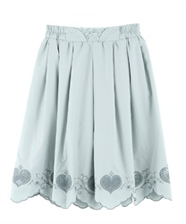 Skirt with heart-shaped openwork embroidery(Green-Free)