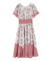 Blurred Pattern Color Dress(Pale pink-Free)