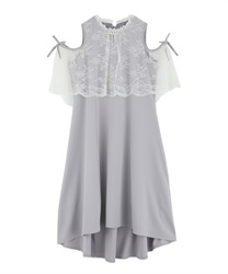 【MAX70%OFF】Lace Design Shoulder Opening Dress(Grey-Free)