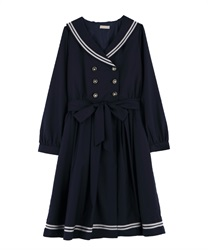 Sailor gown dress(Navy-Free)