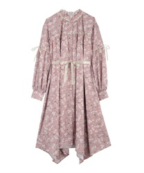Flower shirt one-piece(Pale pink-Free)