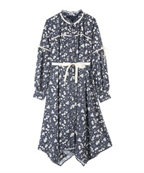 Flower shirt one-piece(Navy-Free)