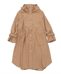 Back Pleated Design Mods Coat(Beige-Free)