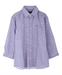 Paisle pattern men shirt(Saxe blue-M)