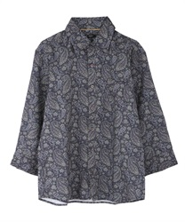 Paisle pattern men shirt(Navy-M)