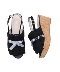 Cotton Lace Sandals(Black-S)