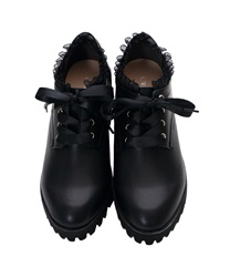 Platform Ankle Boots with Organdy Frill and Satin Ribbon Decoration(Black-S)