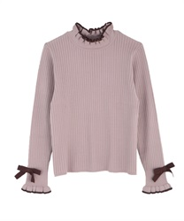 Bicolor frilled knit pullover(Pale pink-Free)