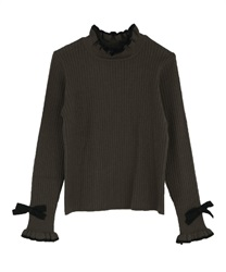 Bicolor frilled knit pullover(Grey-Free)