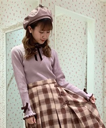 Bicolor frilled knit pullover
