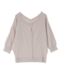 【2Buy10%OFF】Scalloped Design Knit Cardigan(Beige-Free)