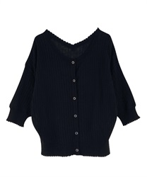 【2Buy10%OFF】Scalloped Design Knit Cardigan(Black-Free)
