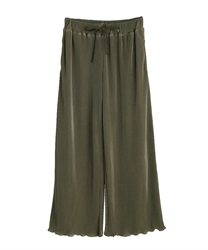 Satin pleated wide pant(Khaki-Free)