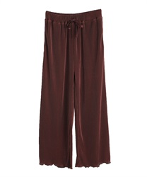 Satin pleated wide pant(Brown-Free)