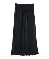 Satin pleated wide pant(Black-Free)