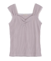 【2Buy10%OFF】Rib-cut camisole(Pale pink-Free)