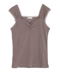 Rib-cut camisole(Brown-Free)