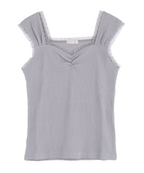 【2Buy10%OFF】Rib-cut camisole(Grey-Free)