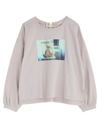 【2Buy10%OFF】Photo-printed T-shirt(Beige-Free)
