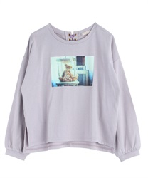 【2Buy10%OFF】Photo-printed T-shirt(Lavender-Free)