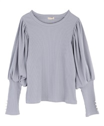 Volume sleeve pullover(Saxe blue-Free)