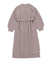 Knit dress with buttons on hem(Lavender-Free)